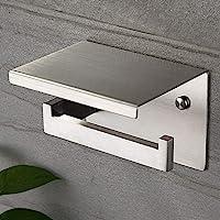 Ruicer Toiletpapierhouder met legplank, roestvrij staal, zonder boren, zelfklevende of wandmontage
