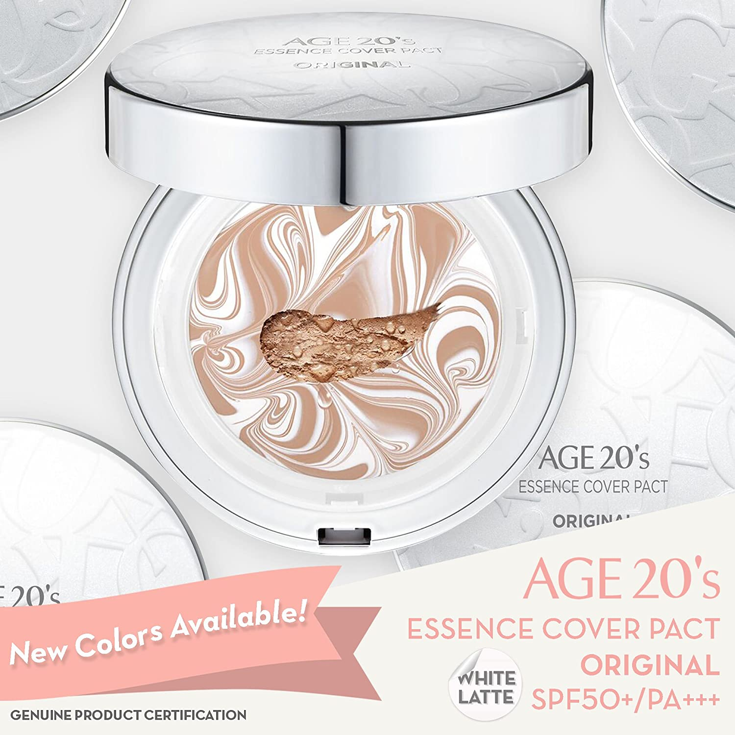 [ AGE TWENTIES ] Age 20's Compact Foundation Premium Makeup, 1 Extra Refill - White Latte Essence Cover Pact SPF50+ (Made in Korea) - Color No. 23 - White/Natural Beige Latte