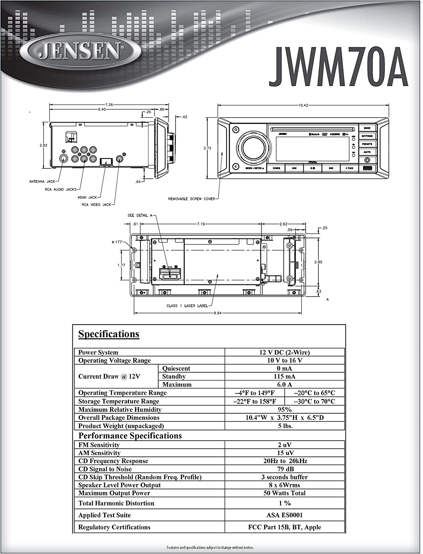 Jensen JWM70A Slimline DVD|USB|AUX|HDMI|App Ready Bluetooth Wallmount on