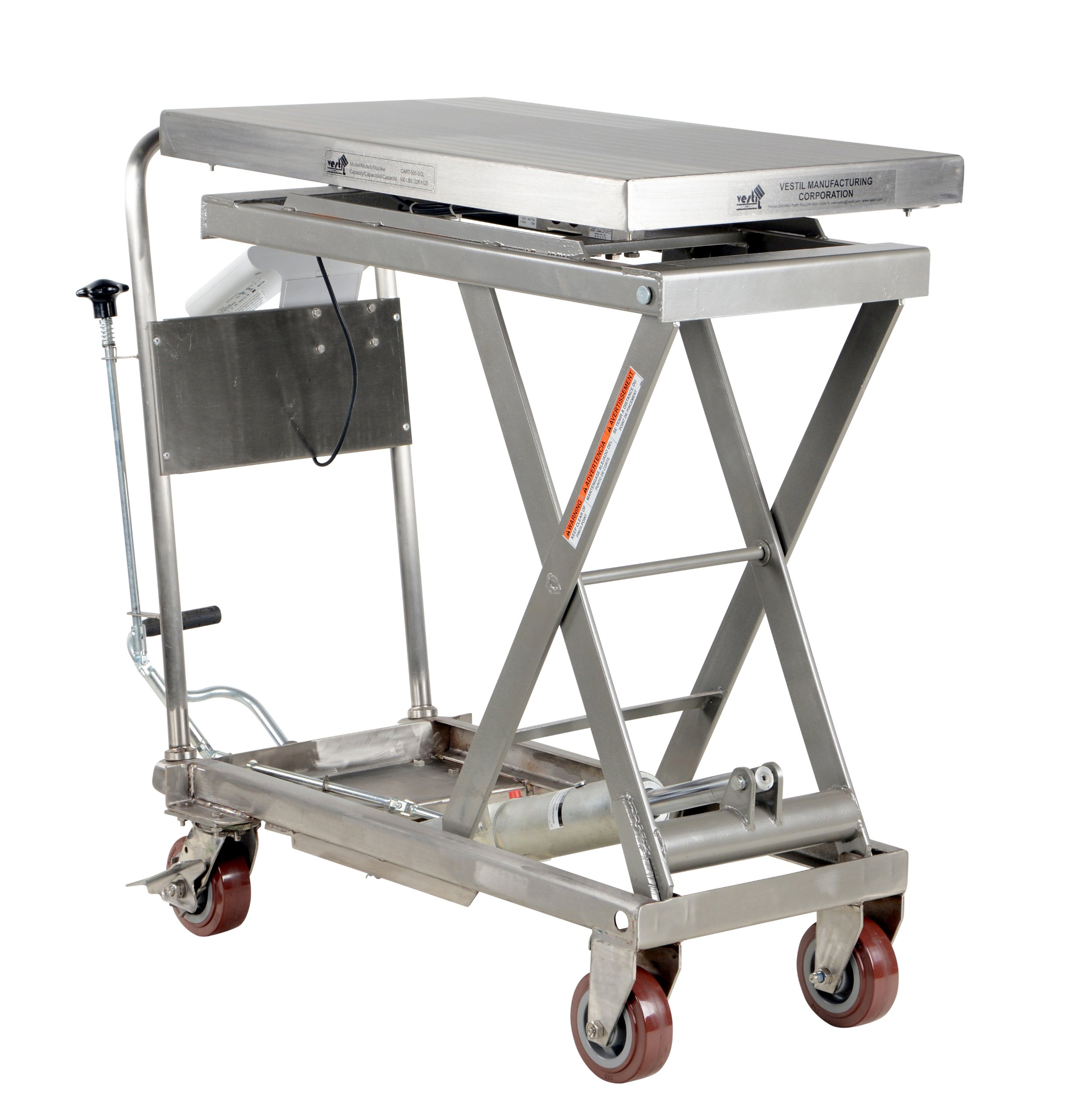 Vestil 500 lb. 32 x 19.5 in. Partially Stainless Steel Scissor Cart with Scale
