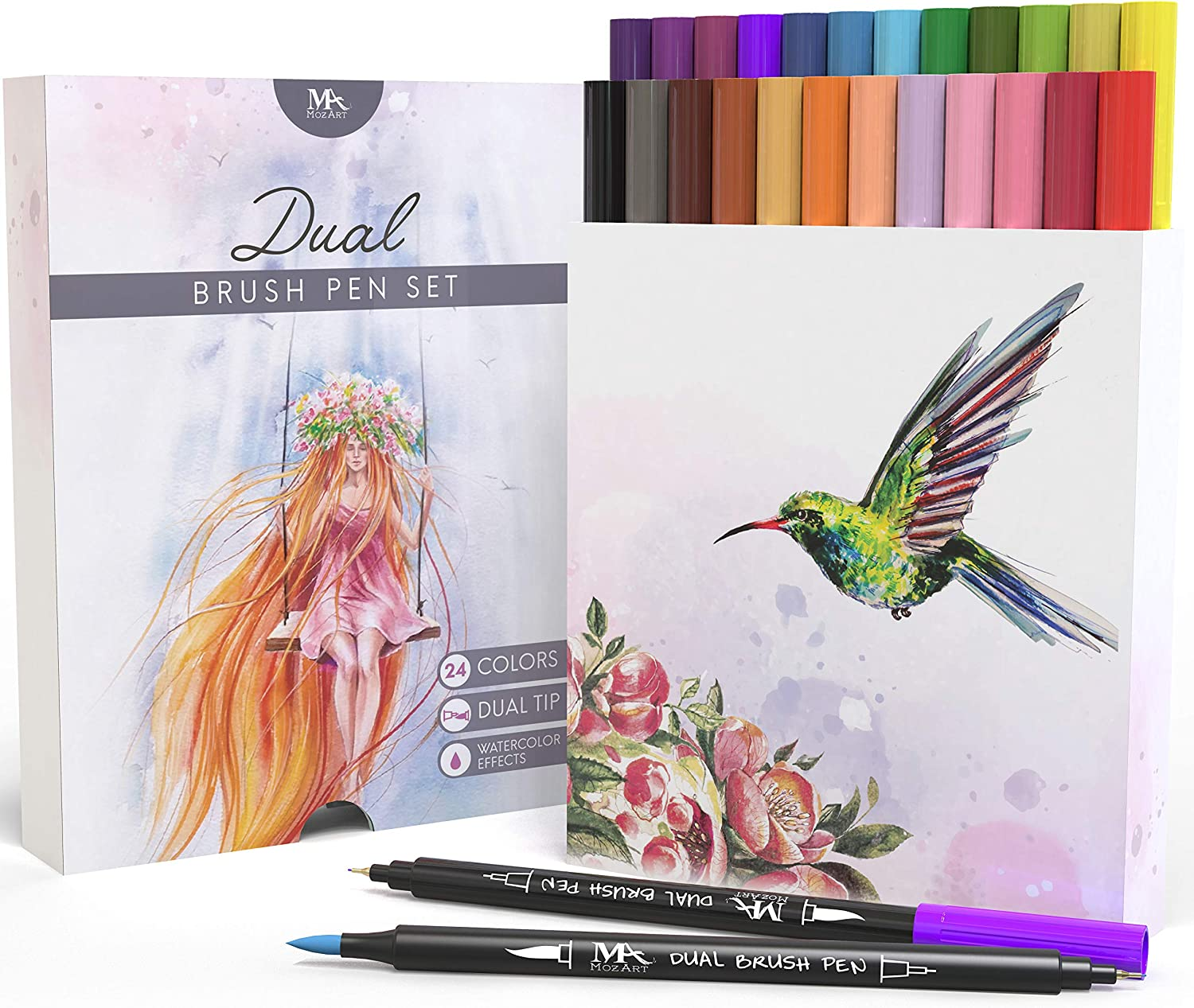 Set de rotuladores con doble punta de pincel- 24 colores - alta calidad, crea un efecto acuarela - Ideal para libros para colorear para adultos, manga, comic, caligrafía - MozArt Supplies