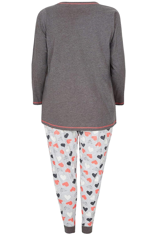 Yours Clothing Womens Love Me Pyjama Set Matching PJ Top Bottoms Plus Size