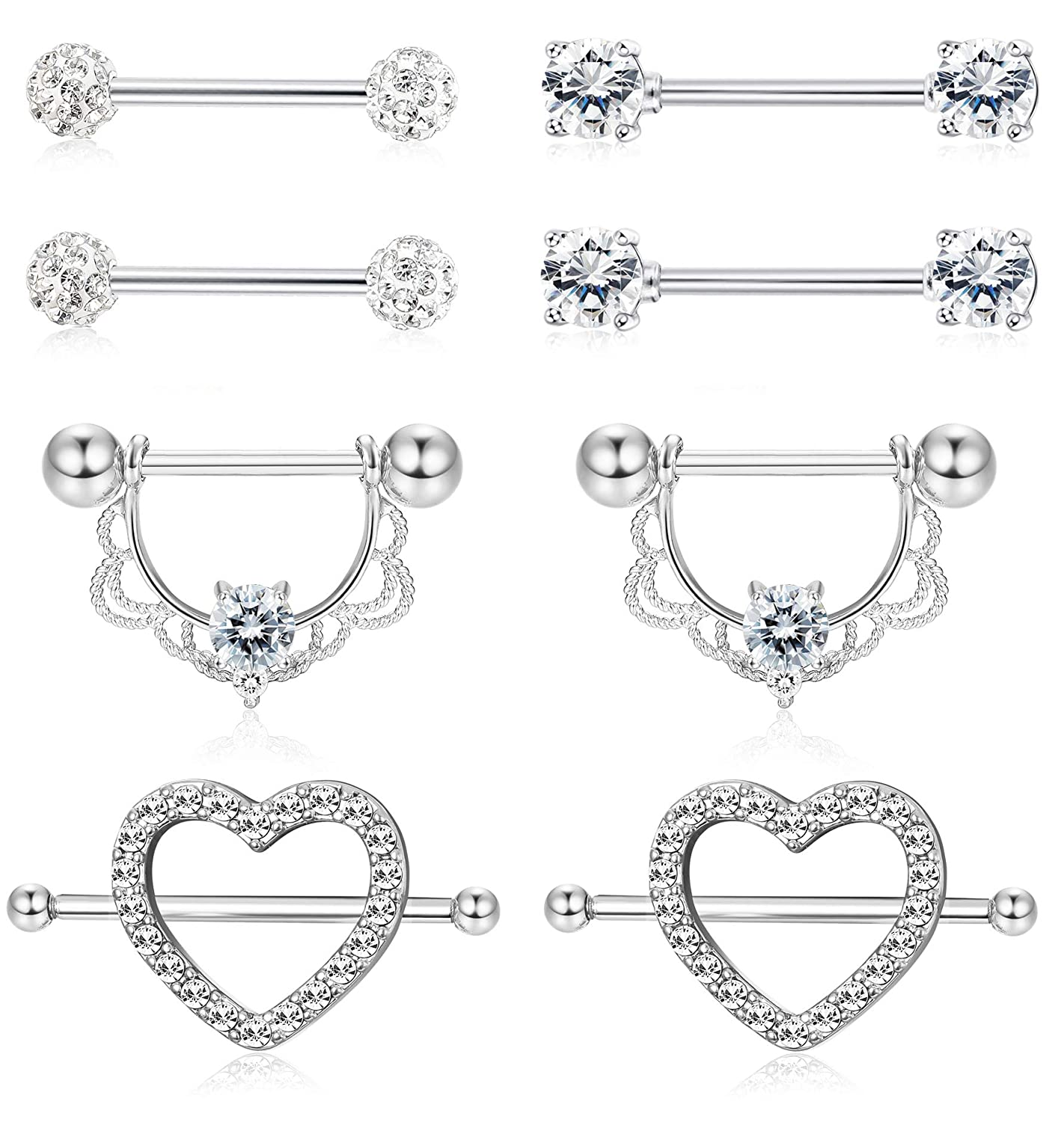 ORAZIO 4 Pairs 14G Stainless Steel Nipplerings Nipple Tongue Rings CZ Opal Barbell Body Piercing Jewelry CC52-4PBL