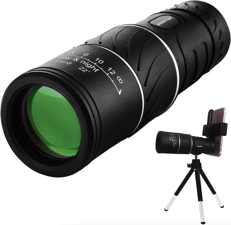 16 x 52 monocular telescopio AOBETAK vision nocturna binoculars con adaptador de movil y trípode, prismáticos para adultos y niños que miran pájaros viajando, al aire libre caza 98 m/8000 m