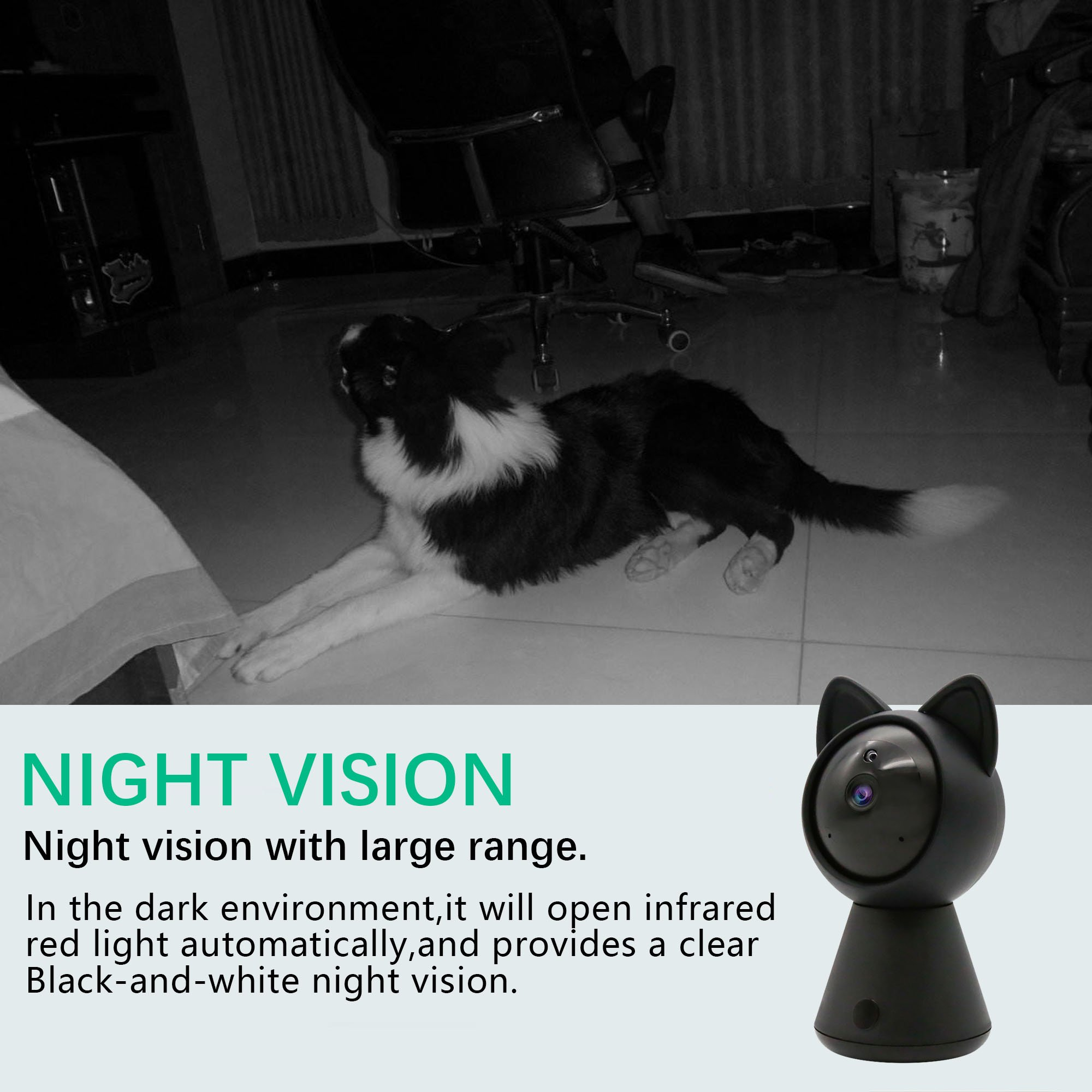 Pet IP Camera WiFi Cam HD 1080P Cute Cat camera Home Security Surveillance Wireless System Dome Camera Nanny Baby Cam Indoor Monitor Pan/Tilt with Night Vision 2-Way Audio Motion Detection alarm B by LUFASA (Image #6)