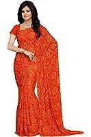 Rani Saahiba Bandhej Printed Chiffon Saree Without Blouse