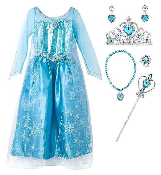 YOSICIL Disfraz de Princesa Elsa con Capa Costume de Frozen ...