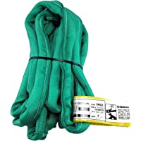 USA Made VR2 X 8' Green Slings 4'-30' Lengths in Listing, Double PLY Cover Endless Round Poly Lifting Slings, 5,300 lbs Vertical, 4,240 lbs Choker, 10,600 lbs Basket (USA Poly)(8 FT)