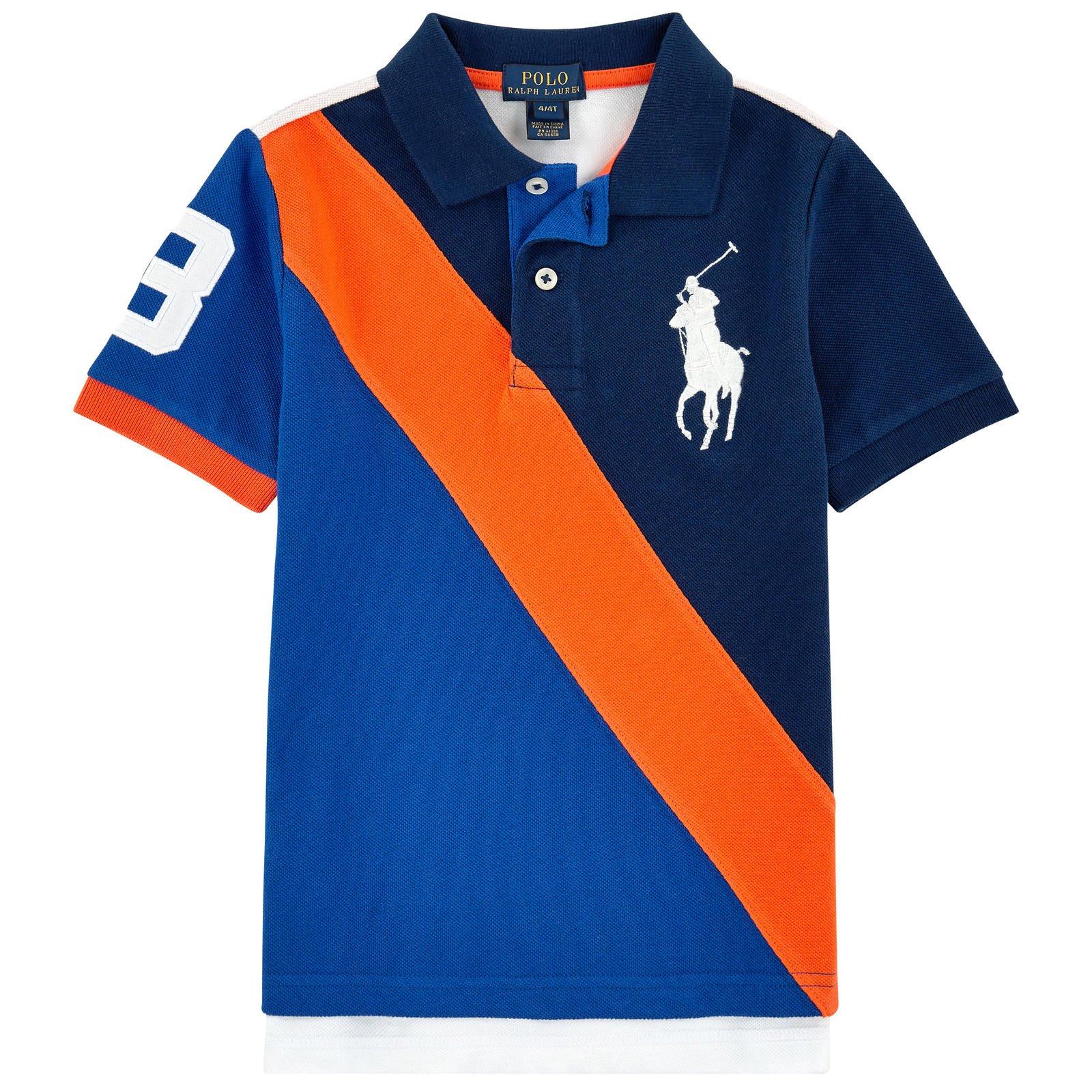Ralph Lauren Boys Big Pony Colorblocked Polo Shirt (Small 8)