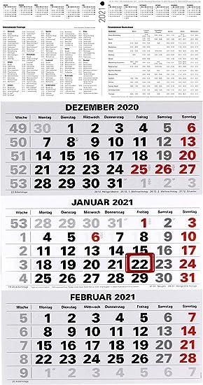 3-Monatskalender 2021 großer Wandkalender Bürokalender
