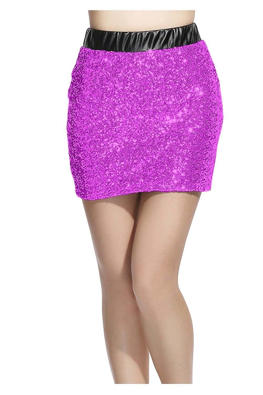 TALLA M. Lotus Instyle Damas Adelgazantes Fit Front Sequins Falso Cuero lápiz Faldas Cortas