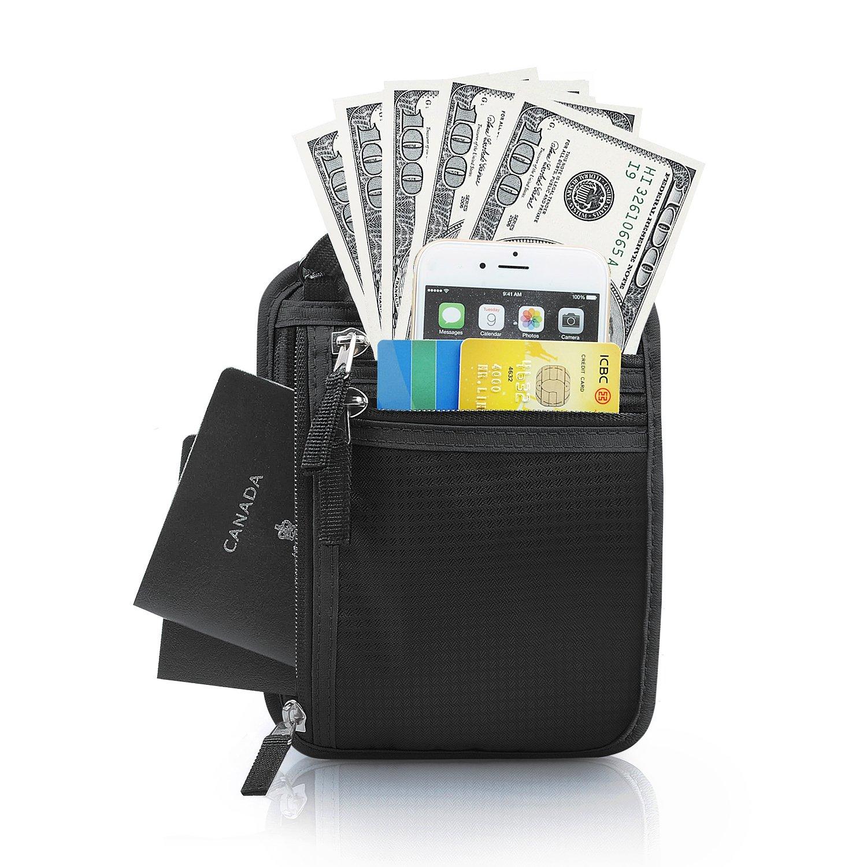 Neck Wallet - RFID Blocking Passport Holder w/3 Zipper Pouches & Belt Loop, Strap Adjustable - Comfortable to Hidden Under Clothing - for Men Women Travel Airport, by LC Prime (Nylon, Black) CH145BK