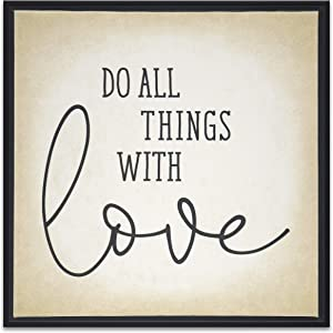 Do All Things With Love Wall Art Canvas Framed Sign 1 Corinthians 16:14 Bible Scripture Religious Faith Home Decor Christian Quotes Picture Print
