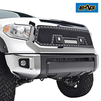 Eag Rivet Stainless Steel Wire Mesh Grille With Led Lights Fit For 14 18 Toyota Tundra