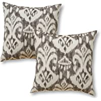 """Greendale Home Fashions 17"""" Outdoor Accent Pillows in Coastal Ikat (Set of 2), Graphite"""