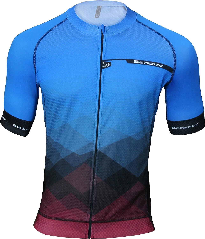 Berkner Pablo Manga Corta, con Iones de Plata, Talla 5XL Camiseta de Ciclismo Color Azul