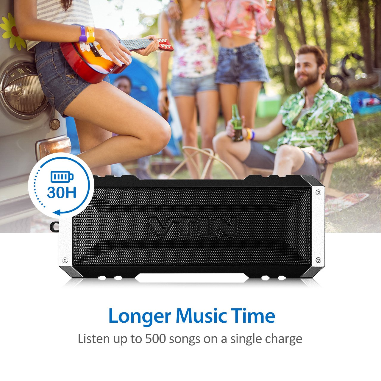 Vtin 20W Outdoor Bluetooth Speaker, Loud Volume, 30 Hours Playtime Portable Wireless Speaker, Waterproof, Dustproof, Shockproof for Indoor and Outdoor Activities - Shower, Pool, Beach, Car, Home by Vtin (Image #4)