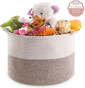 "massway XXL Cotton Rope Basket 20""x13"" Oversized Basket Woven Rope Basket with Handles,Blanket Storage Basket,Rope Laundry Basket,Laundry Storage Basket"