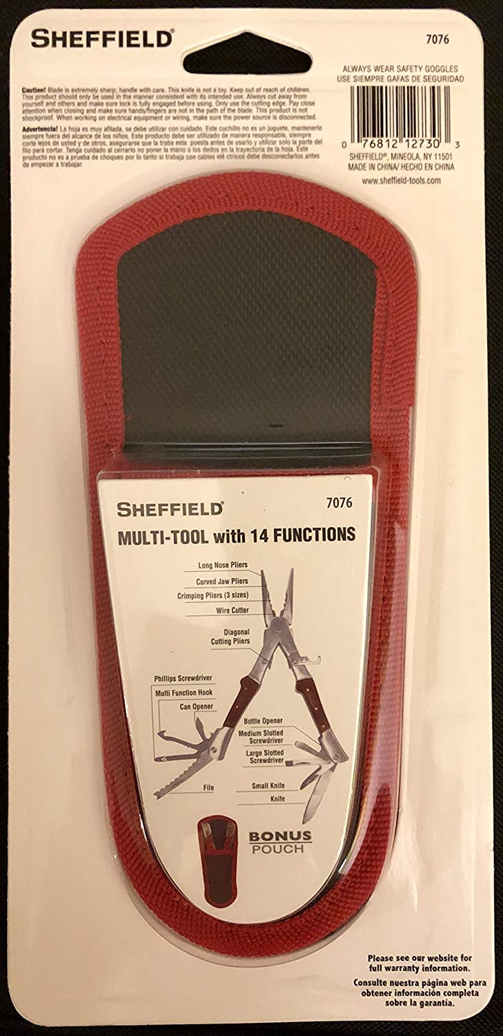 Amazon.com: Sheffield Dual Head Multi - Tool with 14 Functions with Bonus Pouch: Office Products