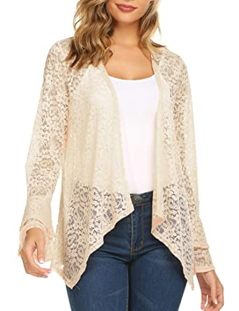 f94a32a7c5 Dealwell Junior Lace Bell Sleeves Cardigan Loose Casual Kimono Crochet  Jacket Summer Cover Up (Beige