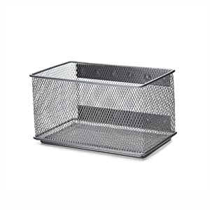 Ybmhome Wire Mesh Magnetic Storage Basket, Trash Caddy, Container, Desk Tray, Office Supply Organizer Silver for Refrigerator/Microwave Oven or Magnetic Surface in Kitchen or Office 2457 (1, Medium)