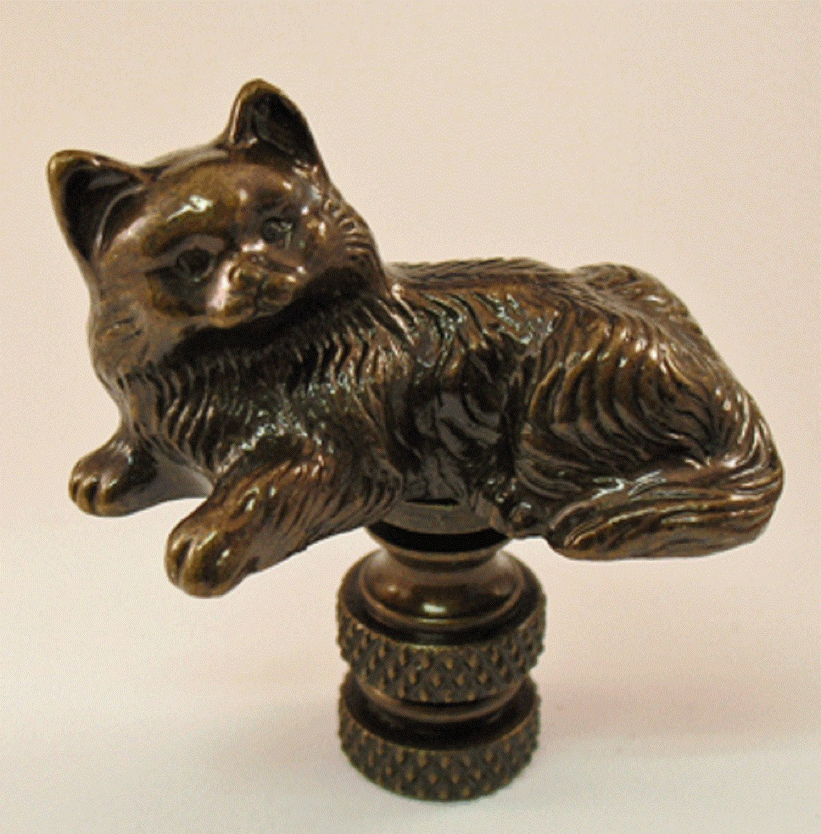 Bronze Cat Lamp Finial 1.75 Inches High