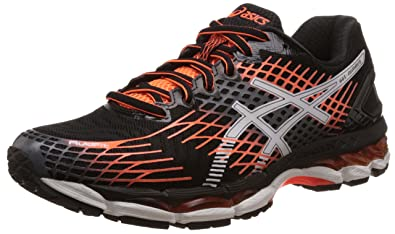 bas prix 0945b 2ba4e ASICS Men's Gel-Nimbus 17 Black, White and Hot Orange ...