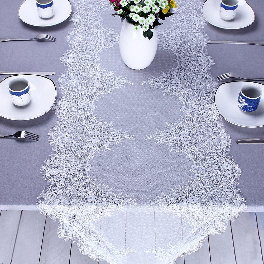 Bloomma Tavolo Corridore, Corridore da Tavolo Pizzo Bianco tovaglia di Classe Bordo Frange Floreali casa Cucina Tavolo da Pranzo Sedia per Il Ringraziamento Natale Boho Wedding Party Decor,55cm x 3cm