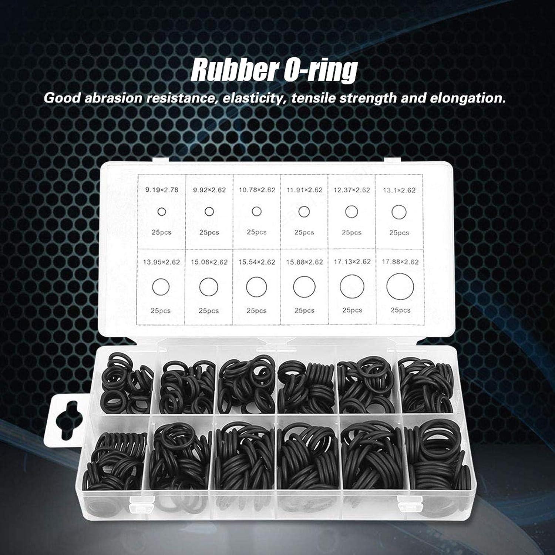 Sepikey O-Ring in Gomma 300 Pezzi O-Ring in Gomma Universale Kit 12 Dimensioni Set di guarnizioni O-Ring Nero Set di guarnizioni