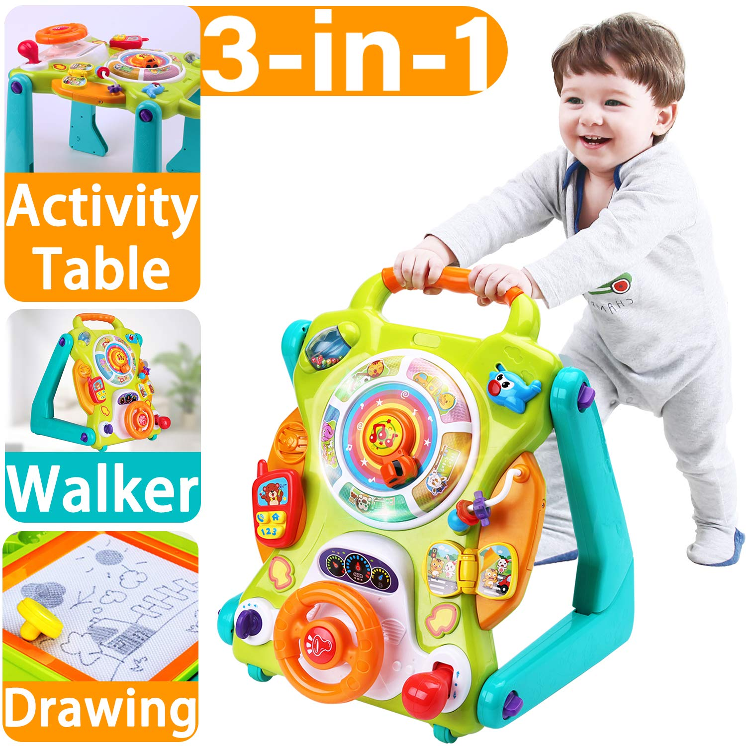 iPlay, iLearn Baby Sit to Stand Walkers Toys, Kids Activity Center, Toddlers Musical Fun Table, Lights and Sounds, Learning, Birthday Gift for 9, 12, 18 Months, 1, 2 Year Olds, Infants, Boys, Girls by iPlay, iLearn