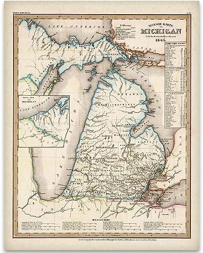 Amazon Com 1845 Michigan Map Art Print 11x14 Unframed Art Print