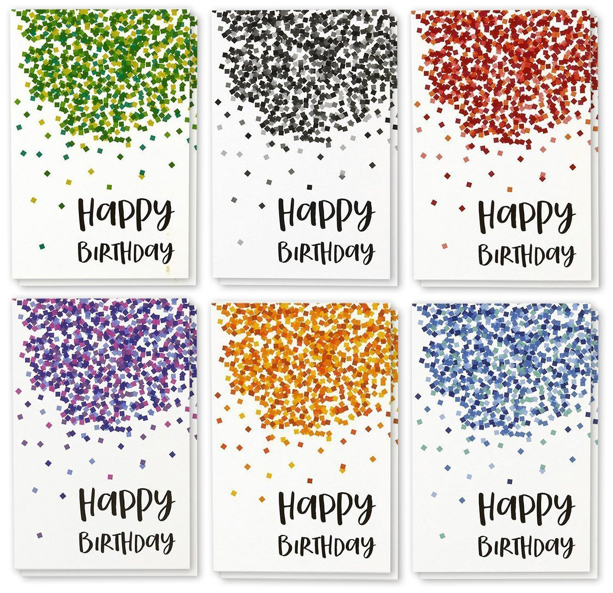 Happy Birthday Greeting Cards Bulk Box Set - 6 Falling Confetti Designs - Red, Blue, Green, Orange, Purple, Black - Blank Inside - Includes 48 Cards with Envelopes - 4 x 6 Inches Juvale