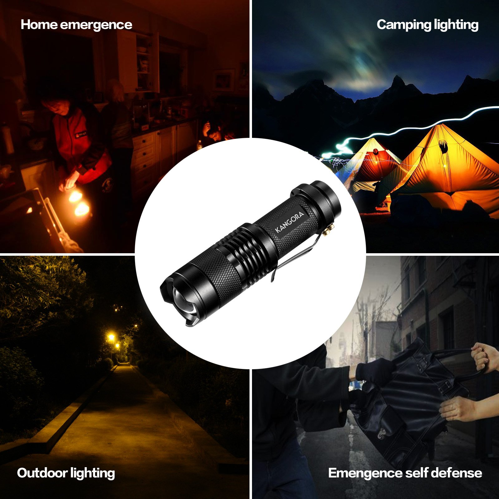 KANGORA Pack of 5, 300 Lumens LED Tactical Mini Handheld Flashlights 3 Light Modes by KANGORA (Image #6)