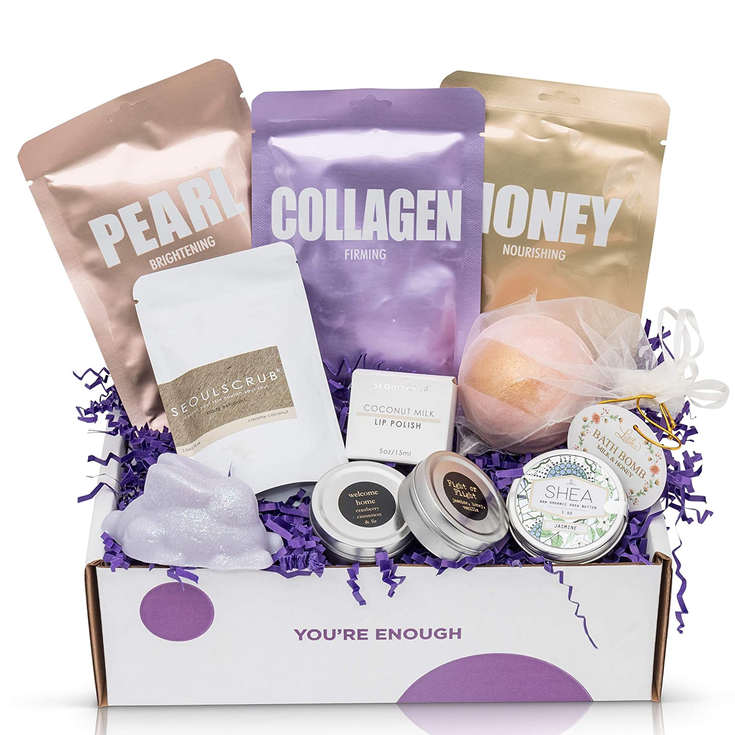 cruelty-free bath, body and spa gift box with shea butter, scented candles and a cool bath bomb