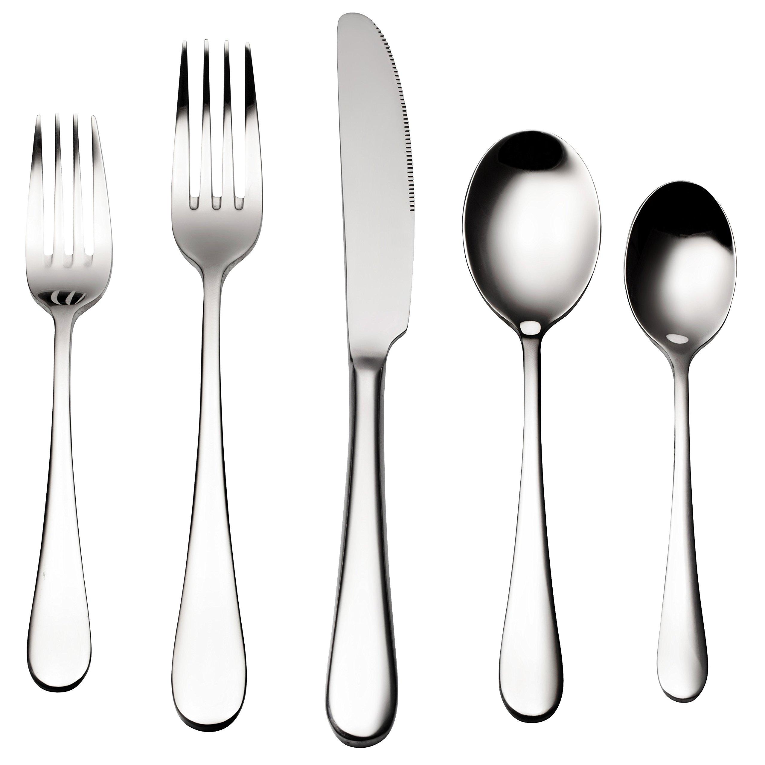 Bruntmor, ALBA Silverware Royal 45 Piece Flatware Cutlery Set, 18/10 Stainless Steel, Service for 8 w/Serving Pieces by Bruntmor