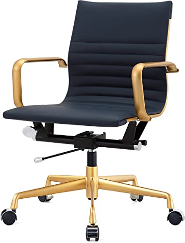 MEELANO M348 Home Office Chair, 33.93 x 23.4 x 22.23 , Gold Navy Blue