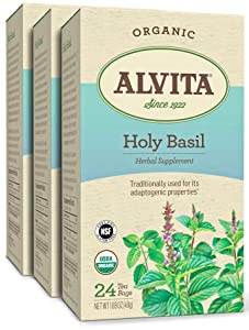 Alvita Organic Holy Basil Herbal Tea - Made with Premium Quality Organic Holy Basil Seeds, And Pleasant Delicate Flavor, 72 Tea Bags (3 Pack)