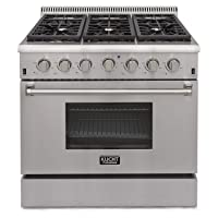 "Kucht KRG3618U Professional 36"" 5.2 cu. ft. Natural Gas Range with Sealed Burners and Convection Oven, Stainless-Steel"