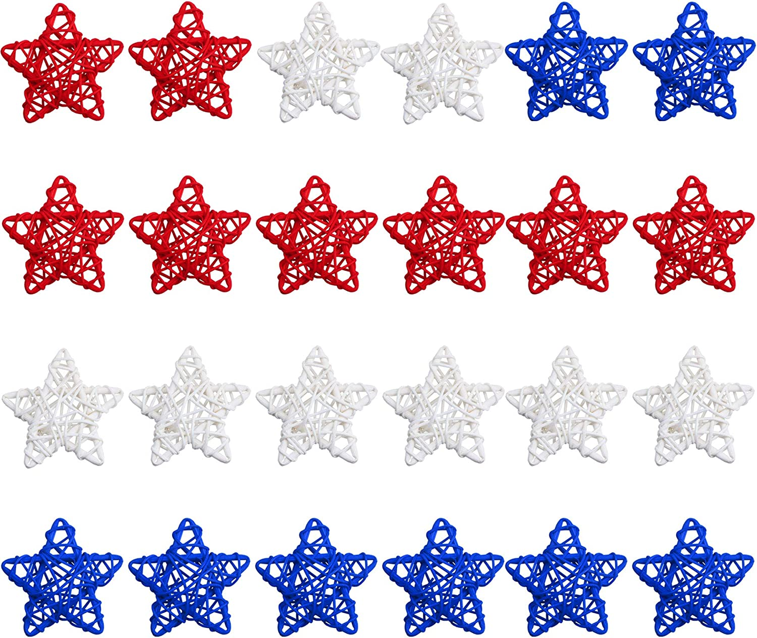 STMK 24 Pcs 4th of July Star Shaped Rattan Balls Decoration, 2.36 Inch Red White and Blue Star Shaped Wicker Balls for 4th of July Home Decor DIY Vase Bowl Filler Ornament Wedding Table Decoration