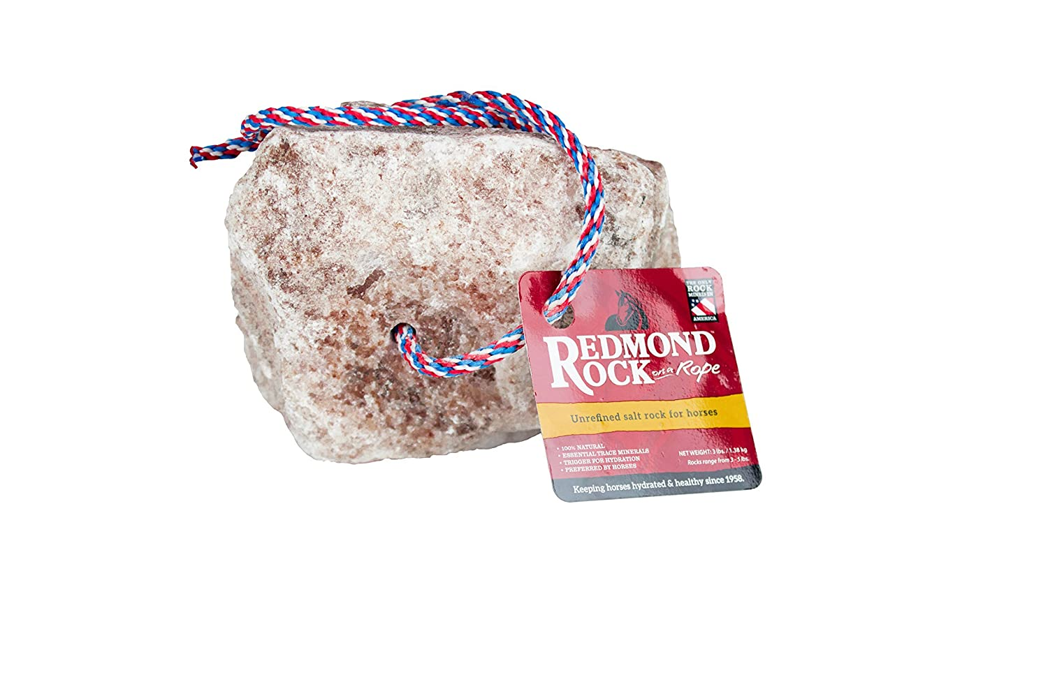 (N A) Redmond Rock on a Rope Unrefined Salt Rock for Horses 1.4-2.3kg.