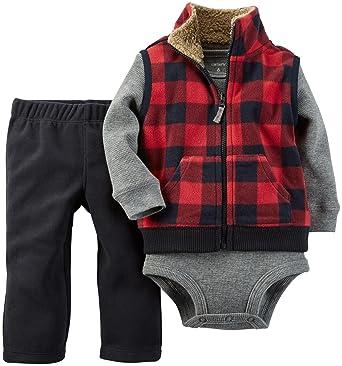 7b390279f6b5 Amazon.com  Carter s Baby Boys  3 Piece Micro Vest Set (Baby)  Clothing
