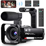 """Video Camera WiFi Camcorder, FHD 1080P 30FPS 26MP IR Night Vision Vlogging Camera for YouTube, 3"""" IPS Touch Screen Video Reco"""