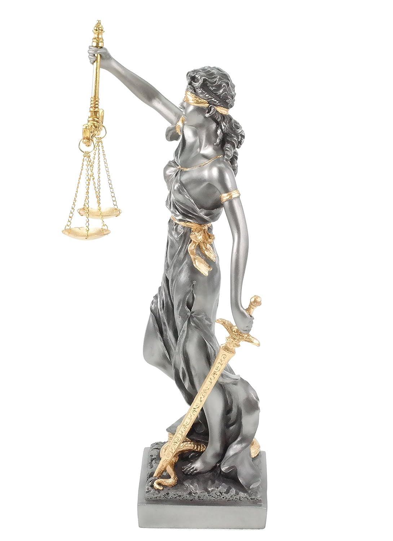 Legge Veronese Statua della dea Romana di Giustizia in Oro//Argento Avvocato