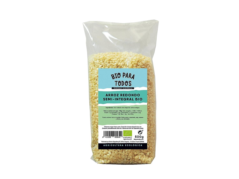Bio para todos Arroz Redondo Semi-Integral - 10 Paquetes de 500 gr - Total: 5000 gr: Amazon.es: Alimentación y bebidas