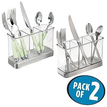 mDesign Cesta organizadora para utensilios de cocina - Cesta de ...