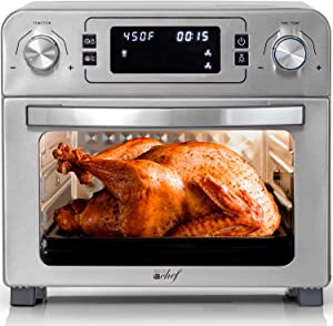 Deco Chef 24 QT Stainless Steel Countertop 1700 Watt Toaster Oven with Built-in Air Fryer and Included Rotisserie Assembly, Grill Rack, Frying Basket, and Baking Pan