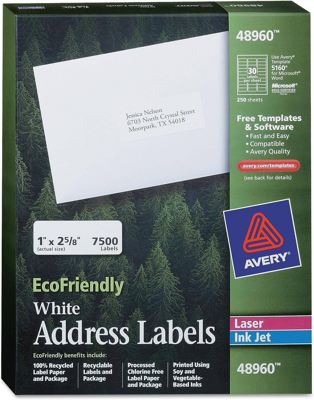 48160 1 x 2.625 Inches Box of 750 Avery White EcoFriendly Address Labels
