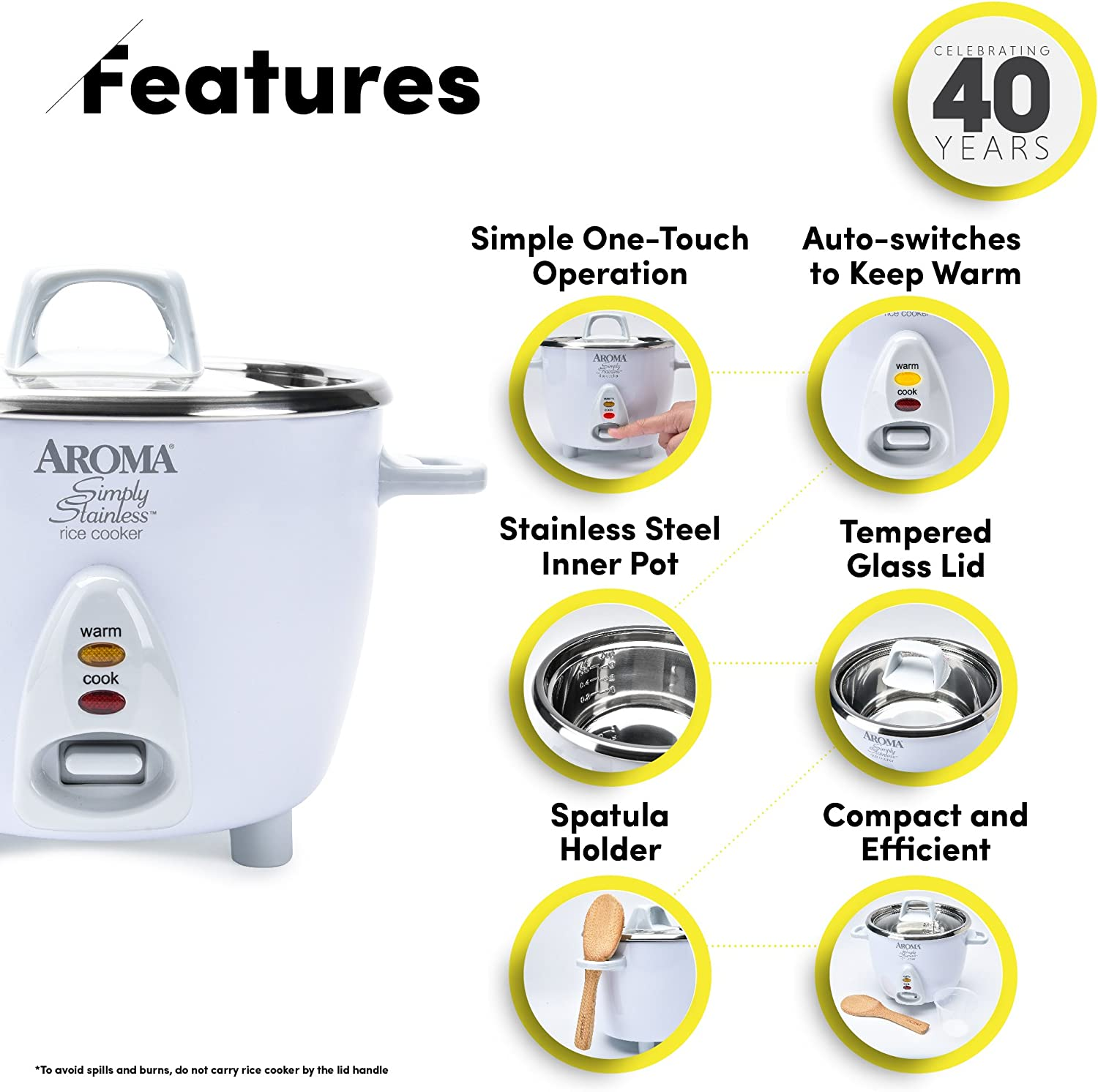 Aroma Housewares Simply Stainless 14-Cup Cooked 7-Cup UNCOOKED Rice Cooker, Stainless Steel Inner Pot ARC-757SG