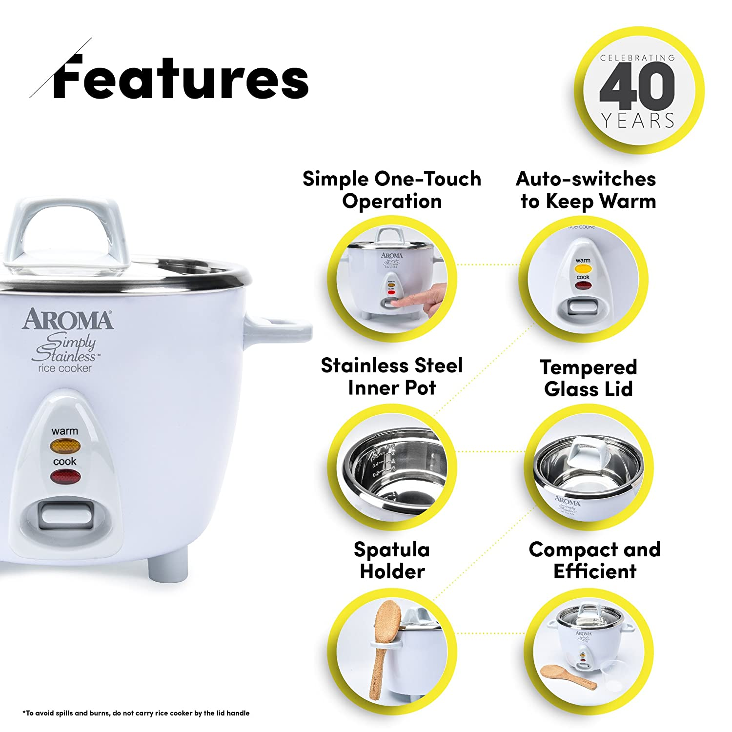 Amazon: Aroma Simply Stainless 3cup(uncooked) 6cup (cooked) Rice  Cooker, White: Rice Cooker Stainless Steel: Kitchen & Dining