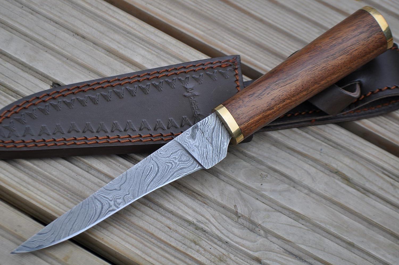 Perkin Knives – Custom Handmade Damascus Hunting Knife – Beautiful Boning Knife